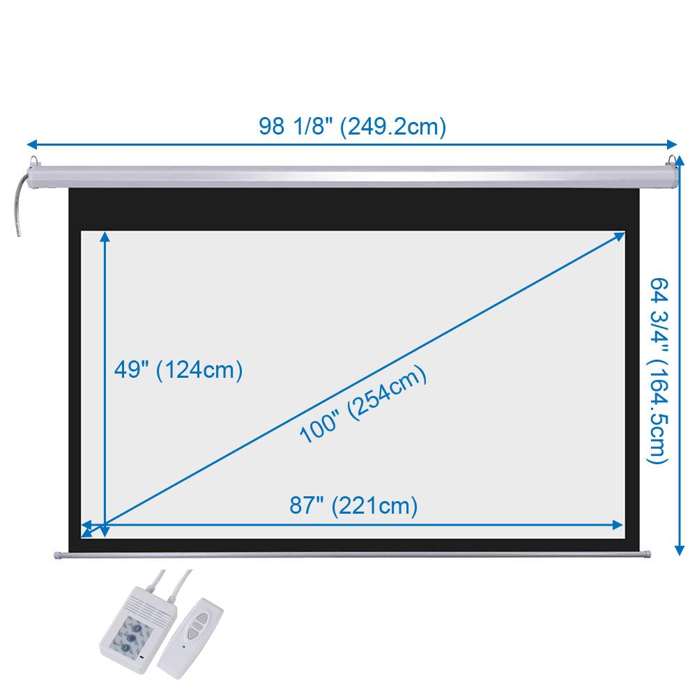 "DSP Motorized Projector Screen 100"" 16:9 Wall Ceiling"