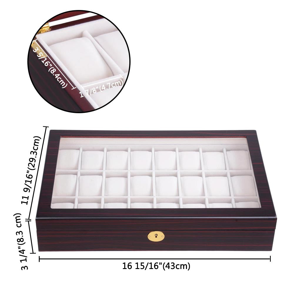 24-Slot Matte Finish Wood Watch Display Case