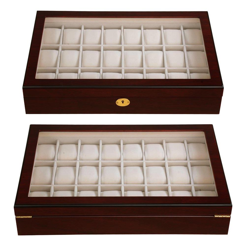 24-Slot Red/Ebony Matte Finish Wood Watch Display Case