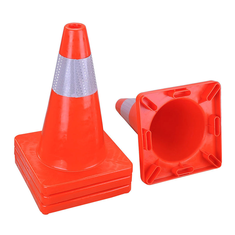 "18"" Traffic Cones with Reflective Collar 4-Pack"