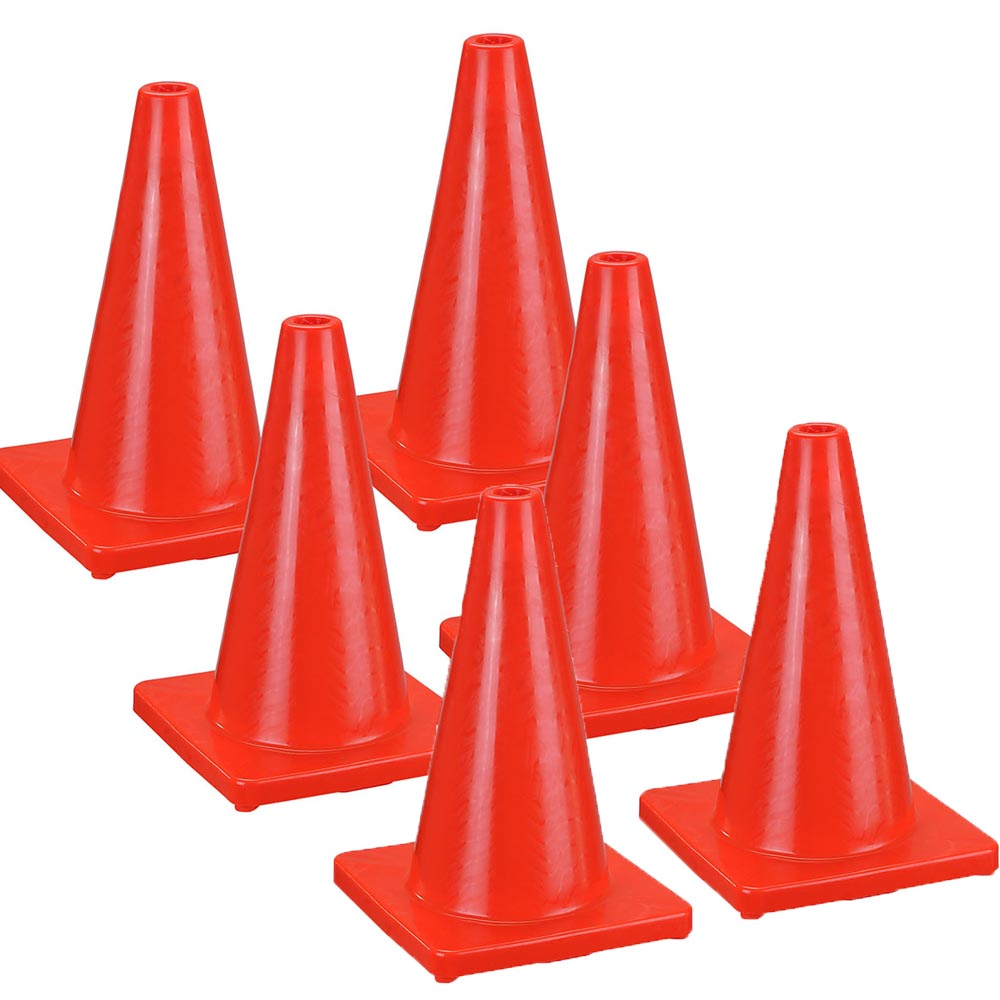 "18"" Traffic Cones 6-Pack Fluorescent PVC"