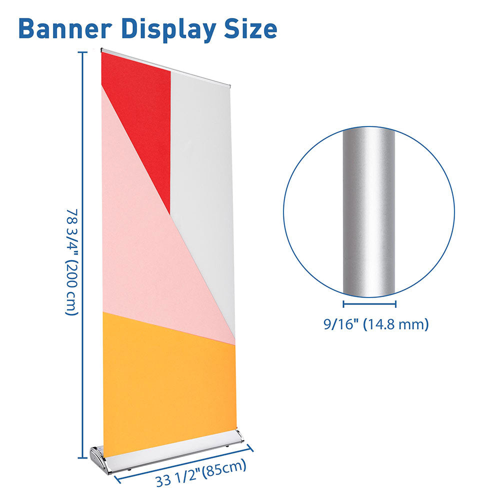 "33"" Roll Up Retractable Aluminum Banner Stand w/ Bag"