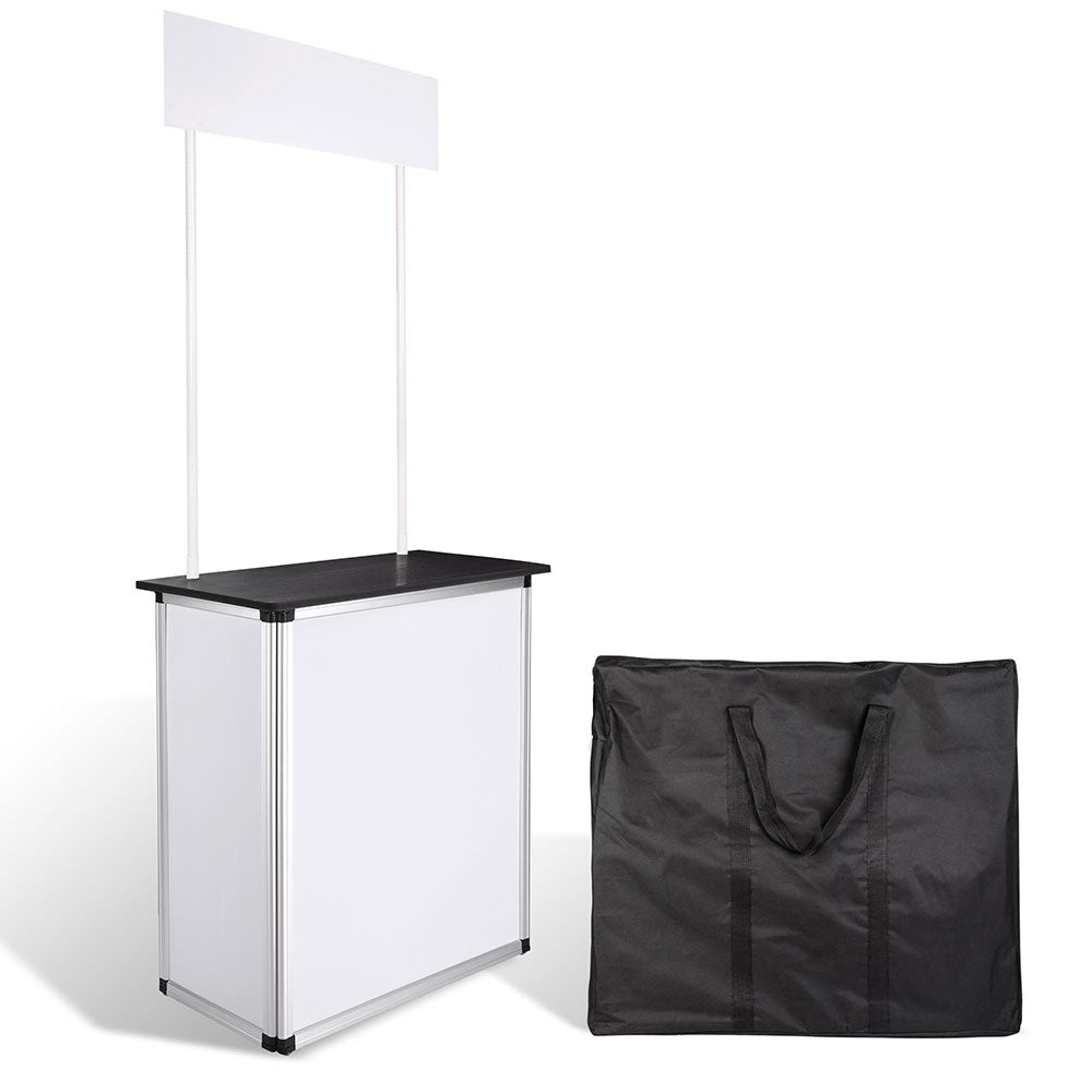 Portable Trade Show Display Podium Counter w/ Header Black (Preorder)