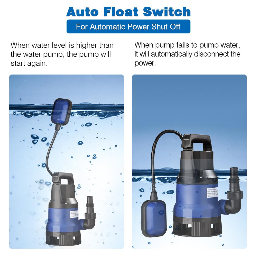 Submersible Dirty Water Pump w/ Float, 1/2HP 400W