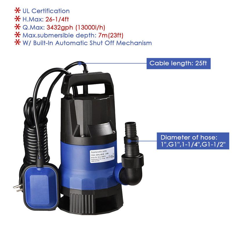 Submersible Dirty Water Pump w/ Float, 1HP 750W (Preorder)