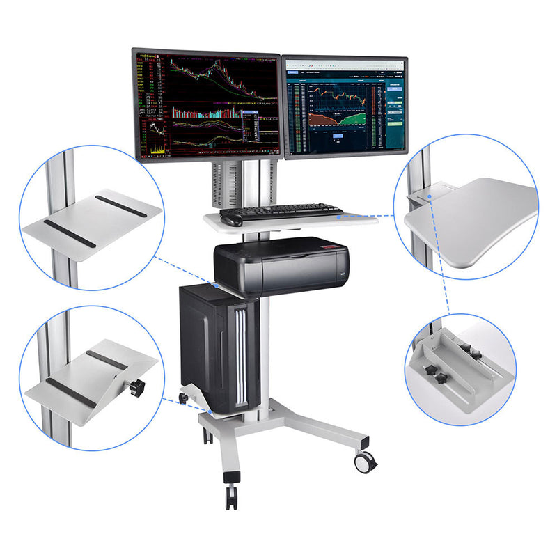 Mobile Computer Cart with Power Dual Monitor Mount, Silver