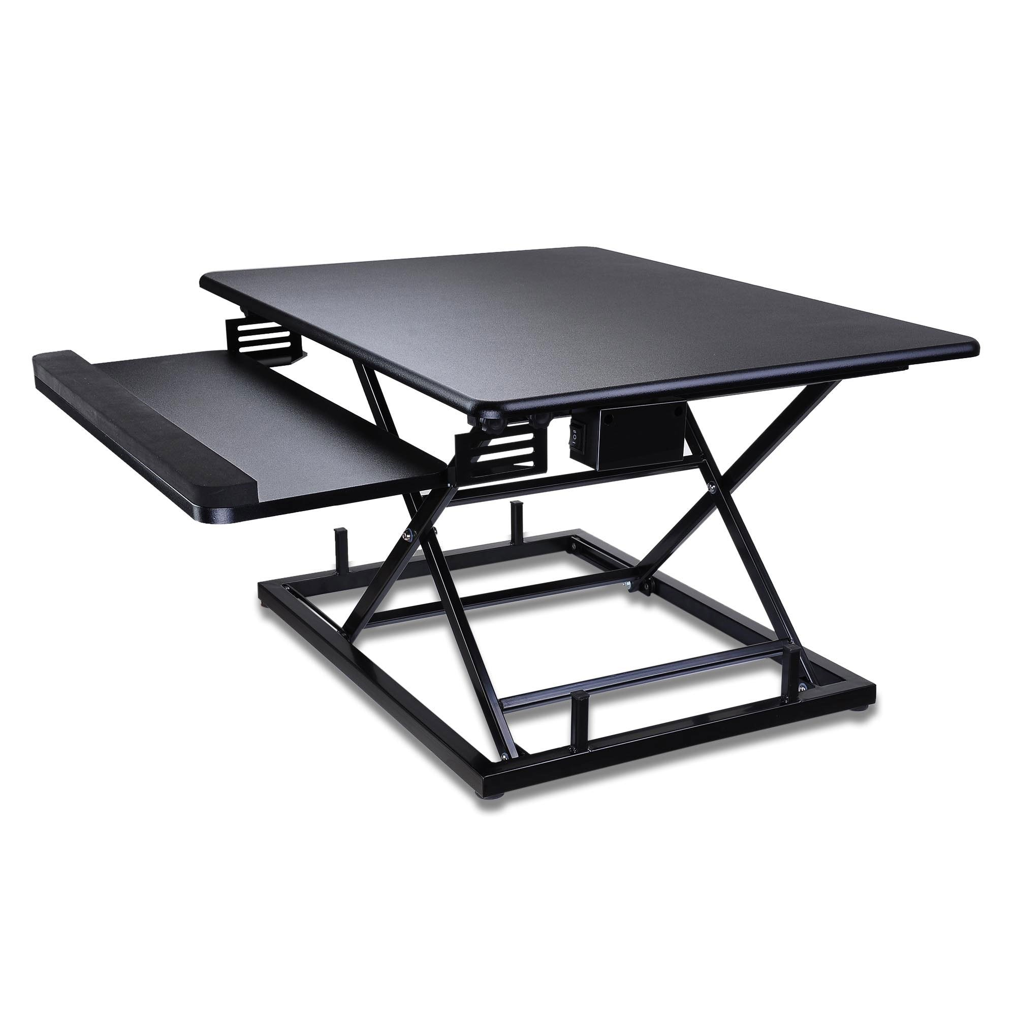 "31"" Powered Electric Sit-Stand Riser Desk Converter w/ Keyboard"
