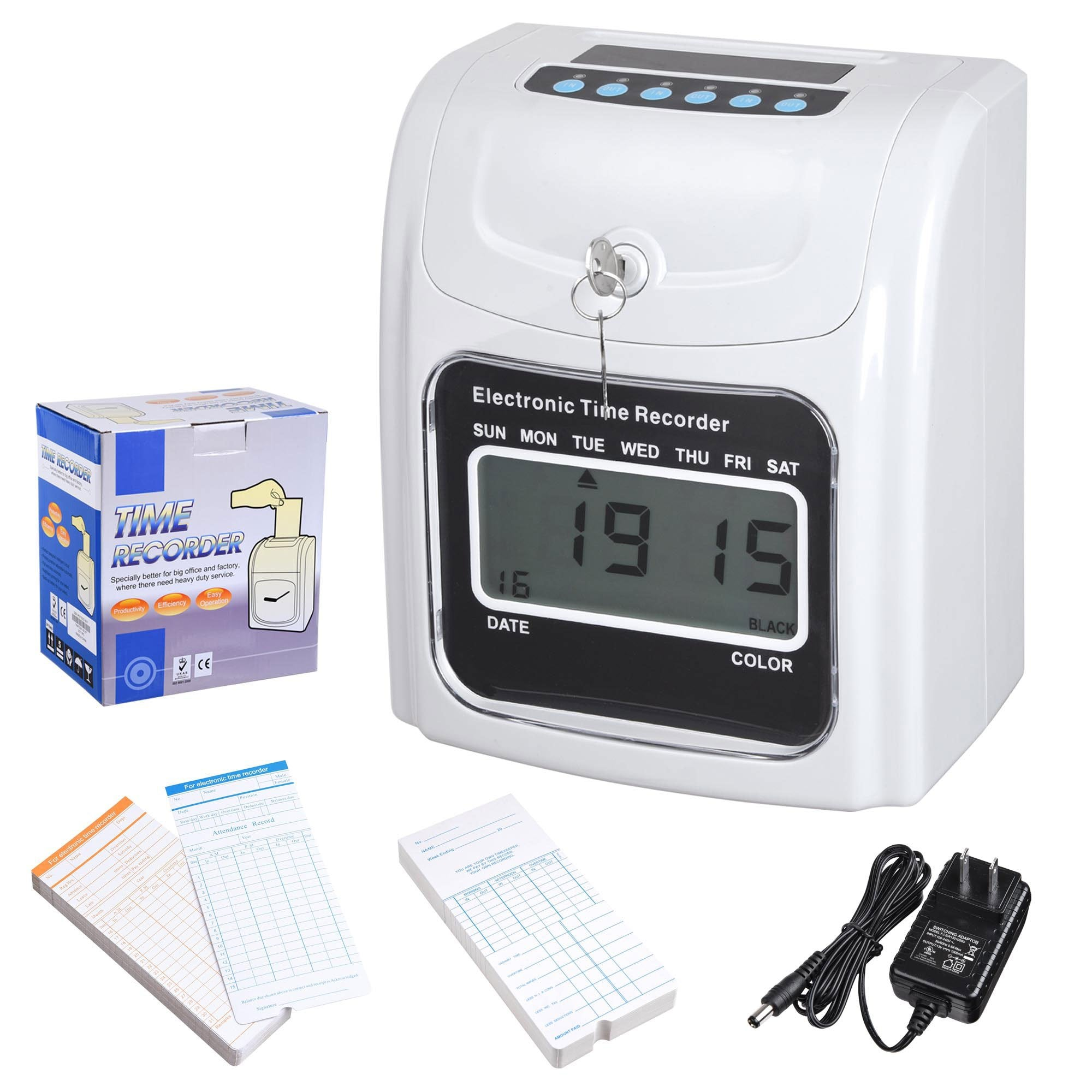 Digital Monthly Weekly Employee Attendance Card Punch Clock