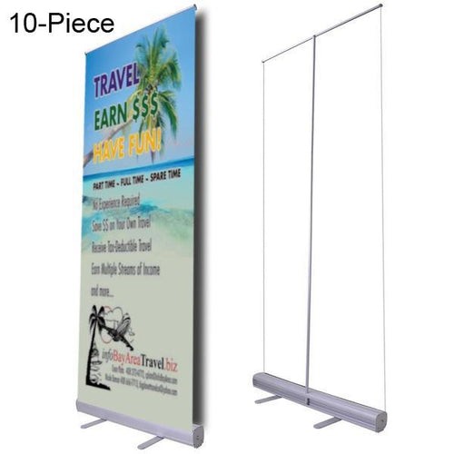 "Wholesale 10-Piece Retractable Banner Stands, 32""x79"" Graphic"