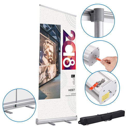 "33""x79"" Roll Up Retractable Aluminum Banner Stand"