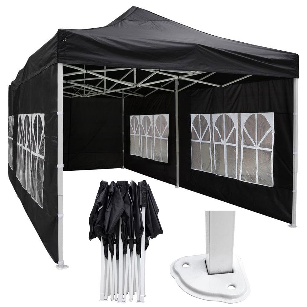10'x20' Waterproof Pop Up Canopy Tent with Sides Black/White/Blue