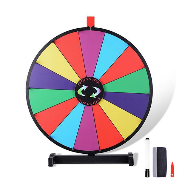 "WinSpin 15"" 18"" 24"" 30"" Tabletop Dry Erase Color Spinning Prize Wheel"