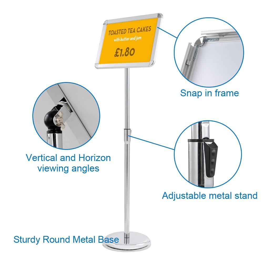 Wholesale 8.5x11 Pedestal Poster Sign Stand Floor Stand, Snap Open