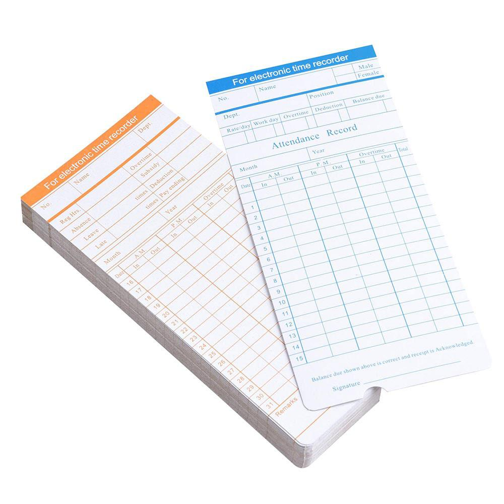 50 Monthly Punch Card Attendance Cards Double Sided