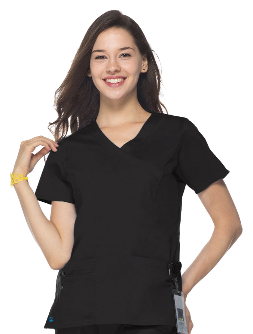 "Maevn Women's ""Blossom"" Scrub Top Black"