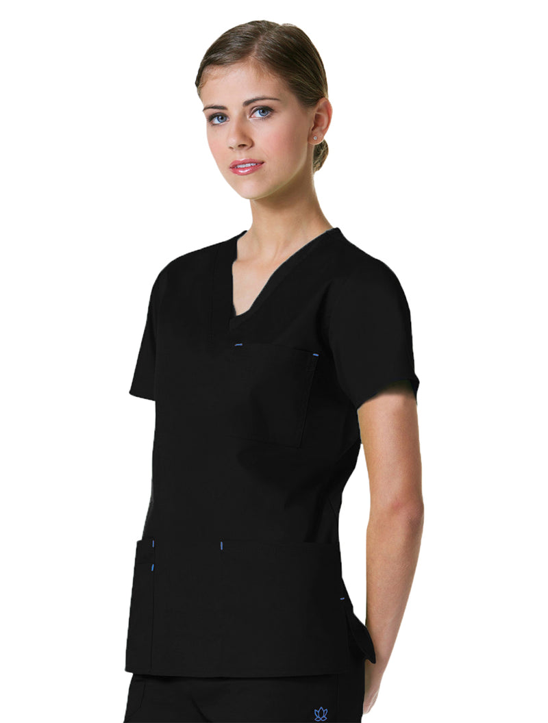 Maevn Women's Blossom 3 Pocket V-Neck Scrub Top Black