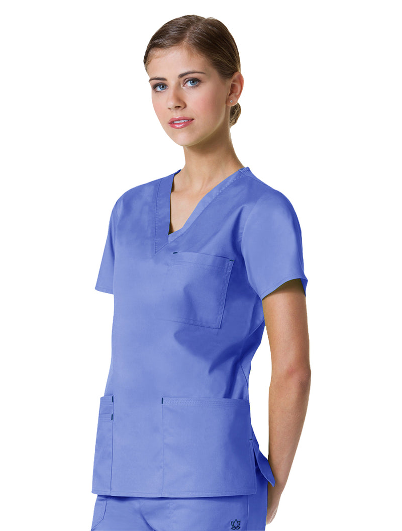 Maevn Women's Blossom 3 Pocket V-Neck Scrub Top Ceil Blue