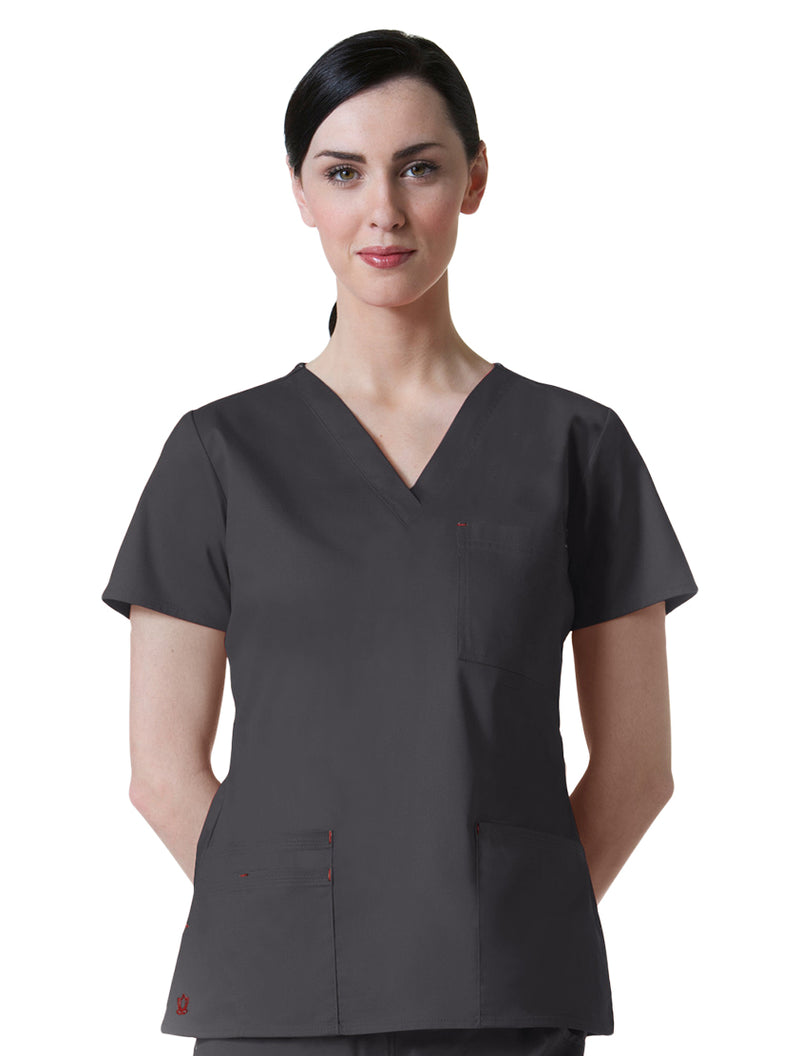 Maevn Women's Blossom 3 Pocket V-Neck Scrub Top Charcoal