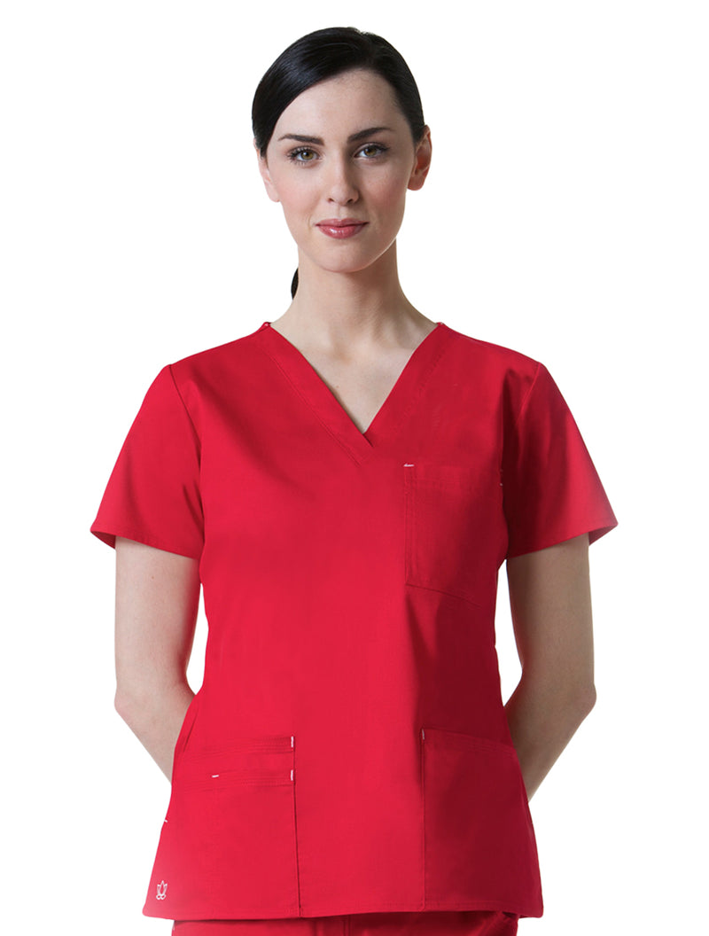 Maevn Women's Blossom 3 Pocket V-Neck Scrub Top Crimson