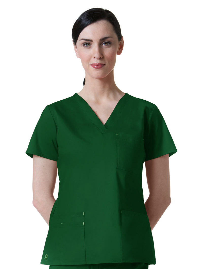 Maevn Women's Blossom 3 Pocket V-Neck Scrub Top Hunter Green
