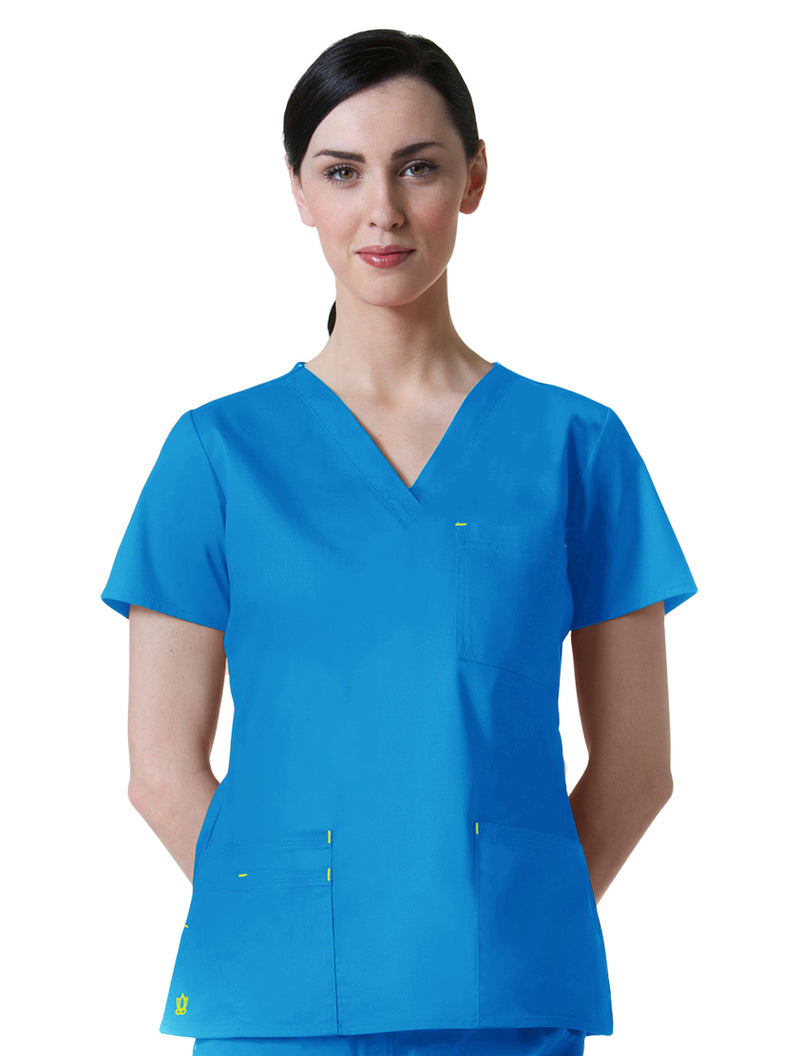 Maevn Women's Blossom 3 Pocket V-Neck Scrub Top Pacific Blue