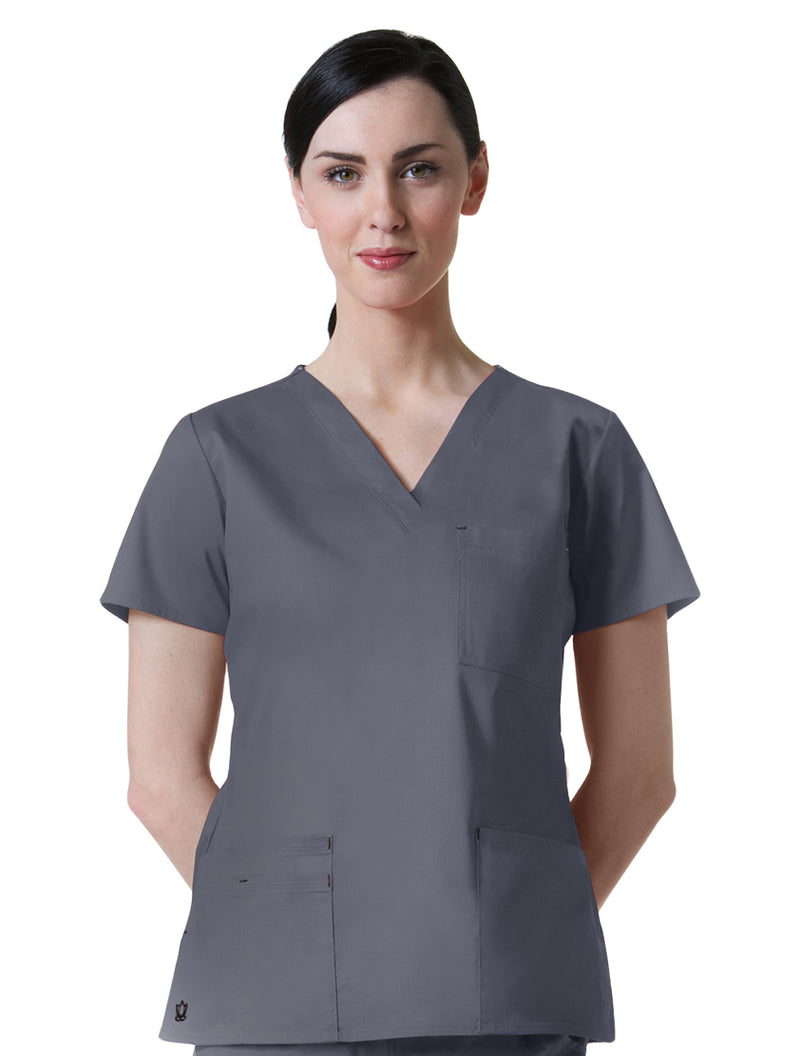Maevn Women's Blossom 3 Pocket V-Neck Scrub Top Steel