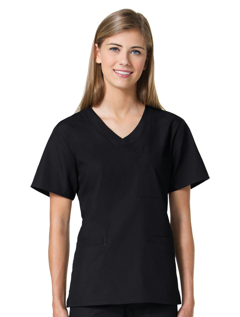 Maevn Women's Core 3 Pocket V-Neck Top Black