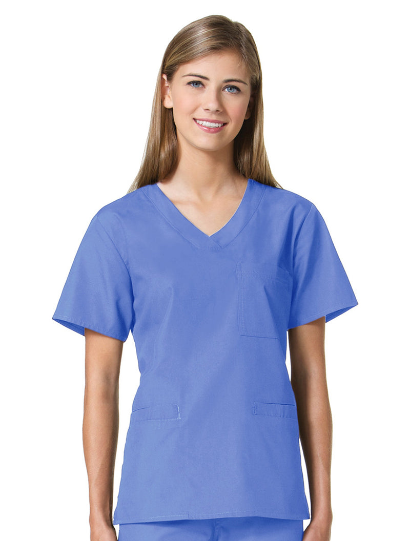 Maevn Women's Core 3 Pocket V-Neck Top Pacific Blue