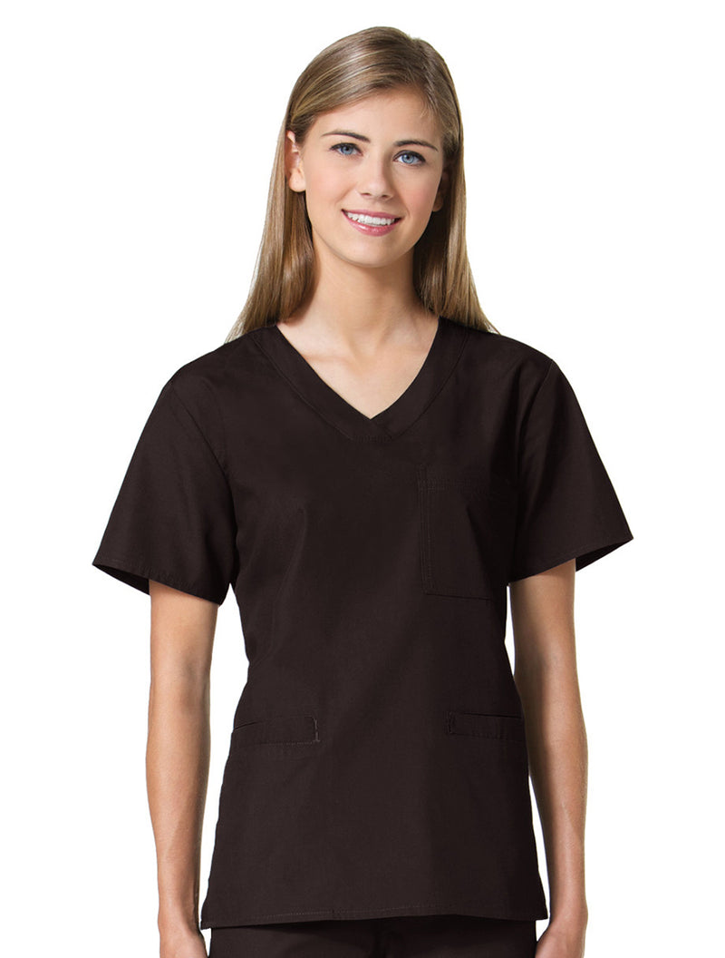 Maevn Women's Core 3 Pocket V-Neck Top Chocolate