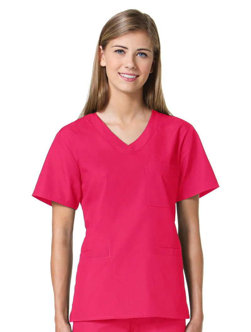 Maevn Women's Core 3 Pocket V-Neck Top Pink