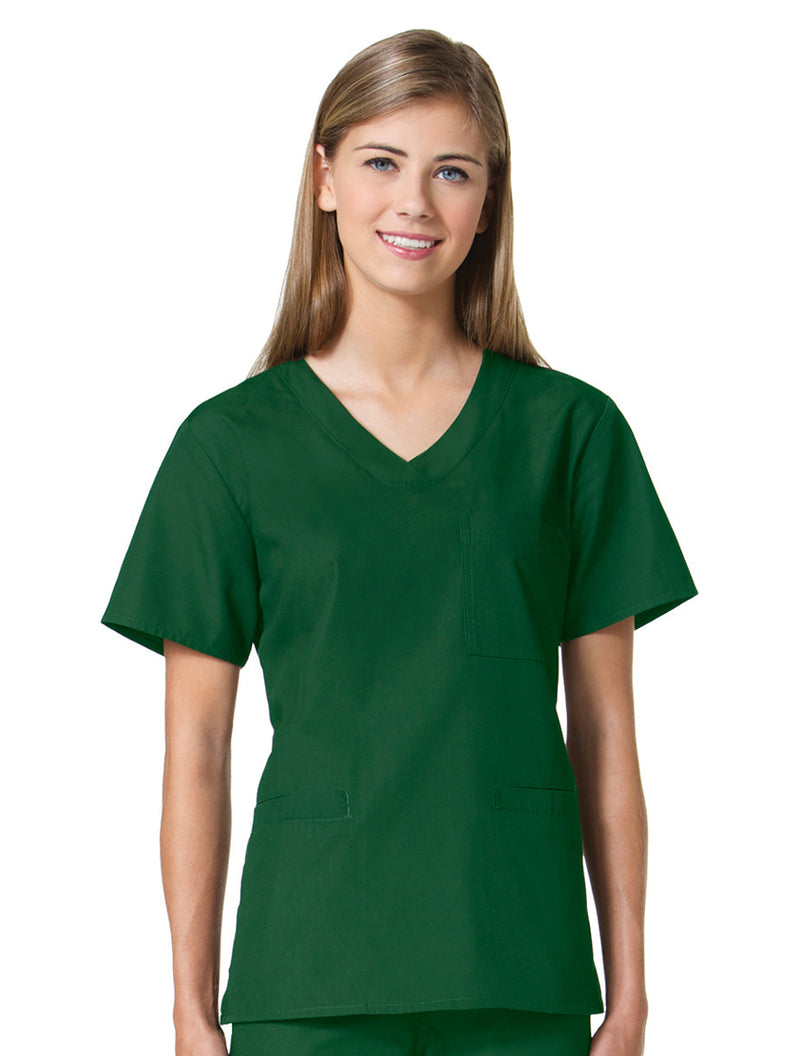 Maevn Women's Core 3 Pocket V-Neck Top Green