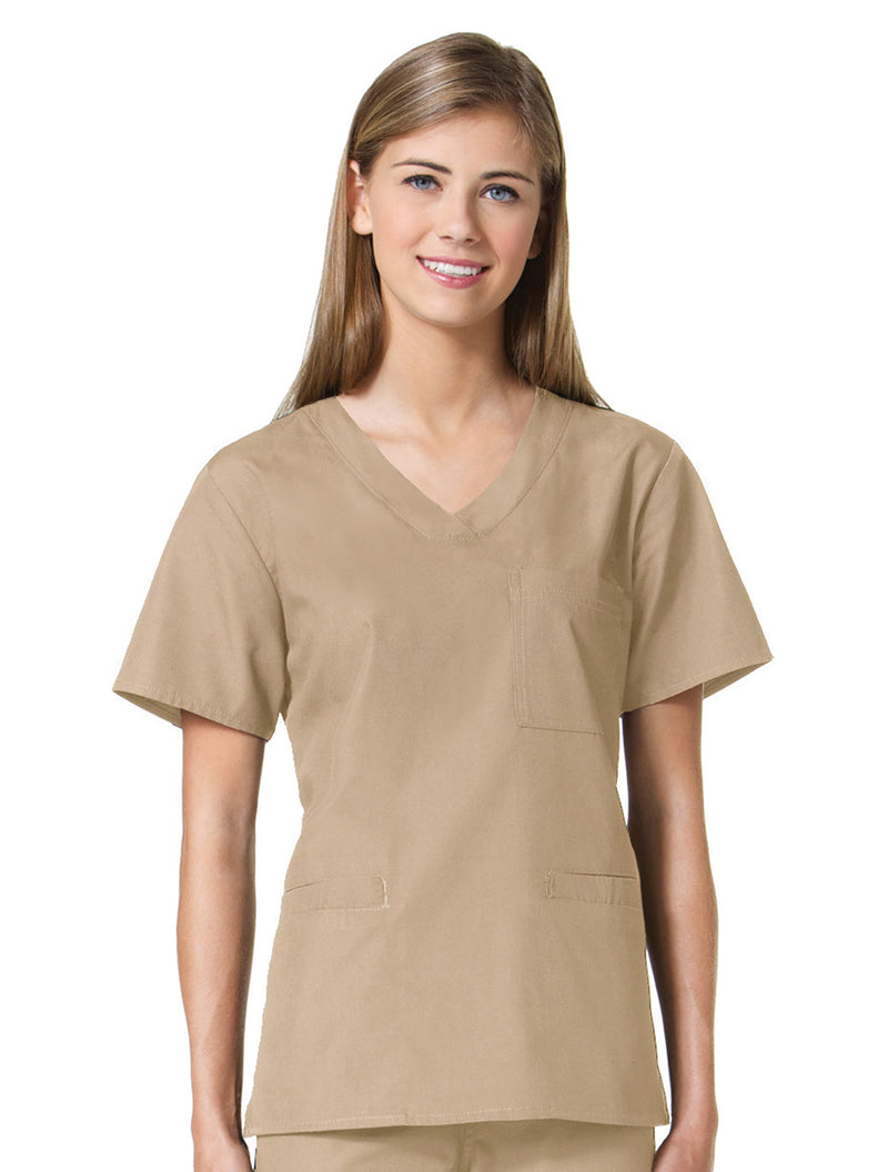 Maevn Women's Core 3 Pocket V-neck Top 1626 Sandstone
