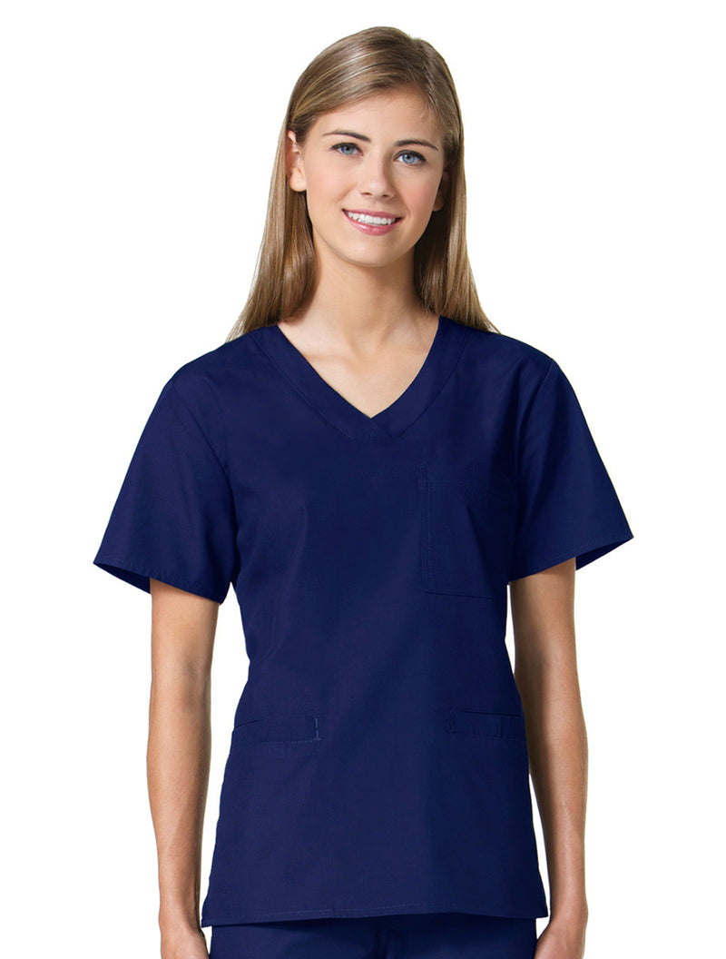 Maevn Women's Core 3 Pocket V-neck Top 1626 Navy