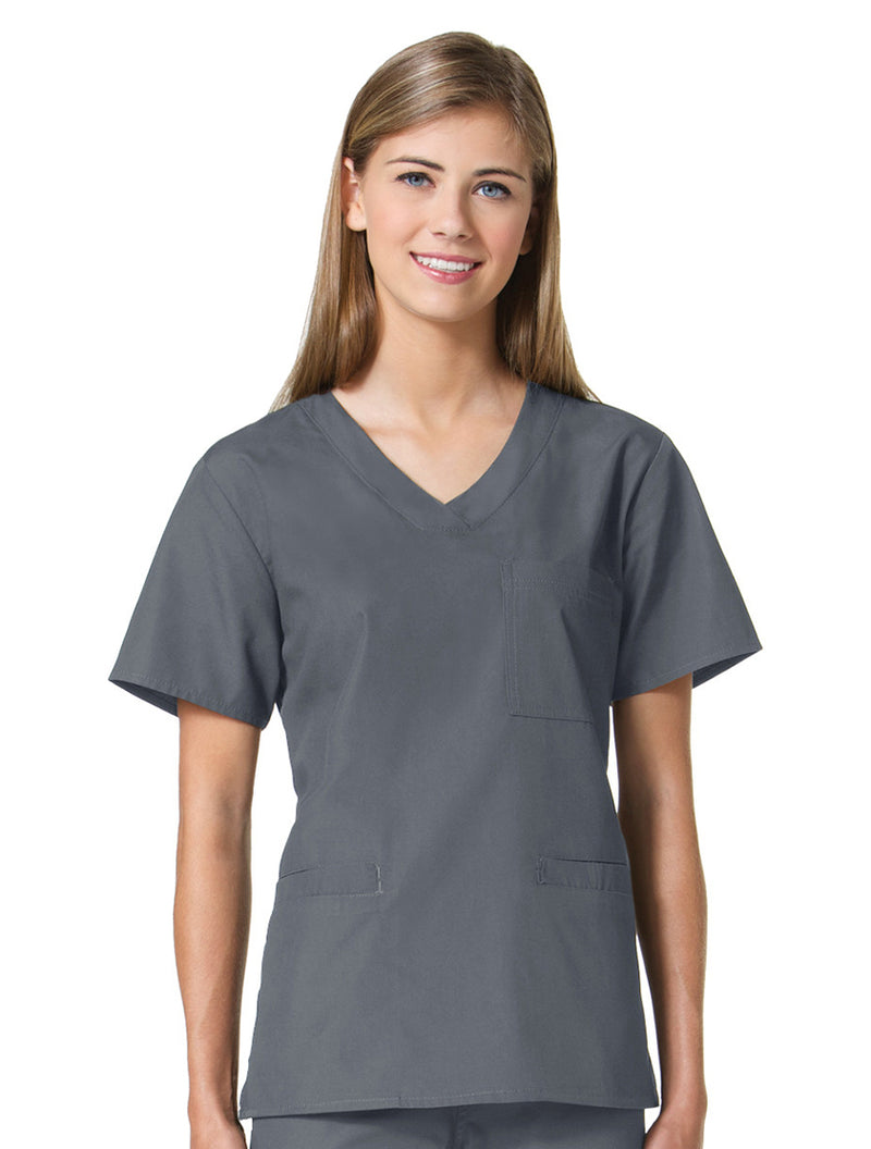 Maevn Women's Core 3 Pocket V-neck Top 1626 Steel