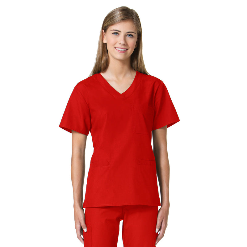 Maevn Women's Core 3 Pocket V-Neck Top Red
