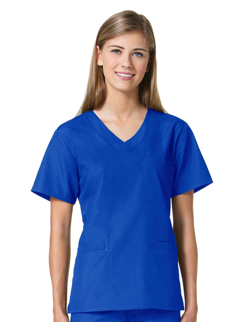 Maevn Women's Core 3 Pocket V-neck Top 1626 Royal Blue