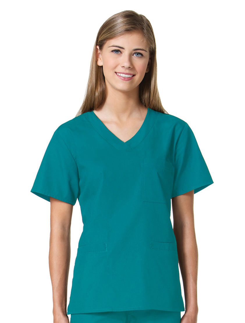 Maevn Women's Core 3 Pocket V-Neck Top Ceil Blue