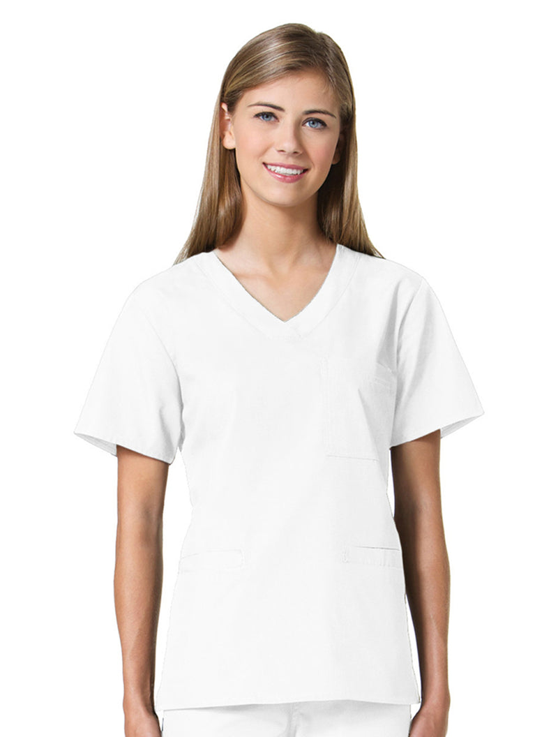 Maevn Women's Core 3 Pocket V-neck Top 1626 White