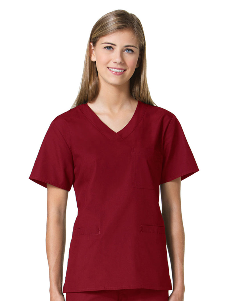 Maevn Women's Core 3 Pocket V-neck Top 1626 Red