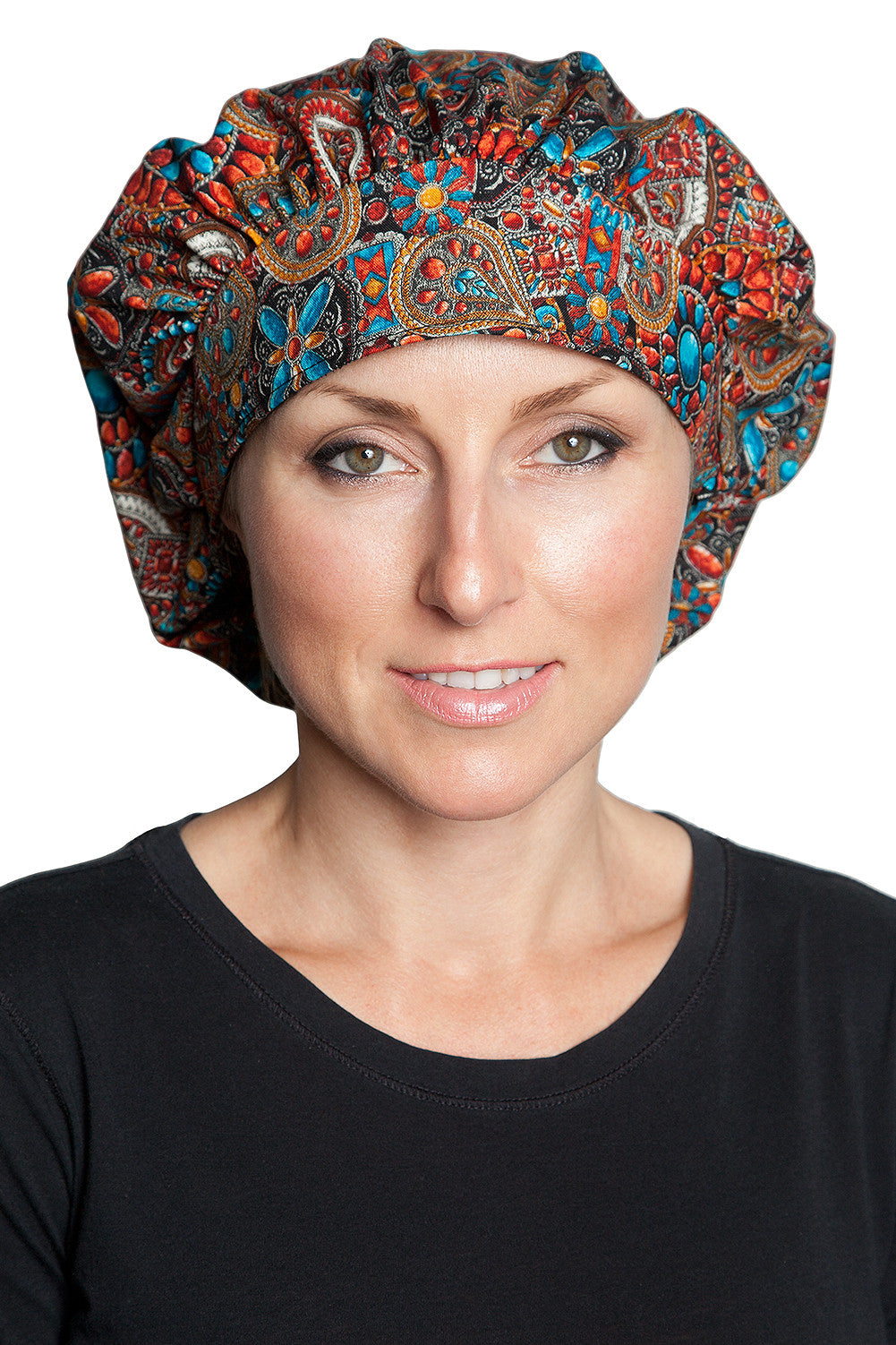 Fiumara Apparel Bouffant Cap Indian Jewel Coral Front
