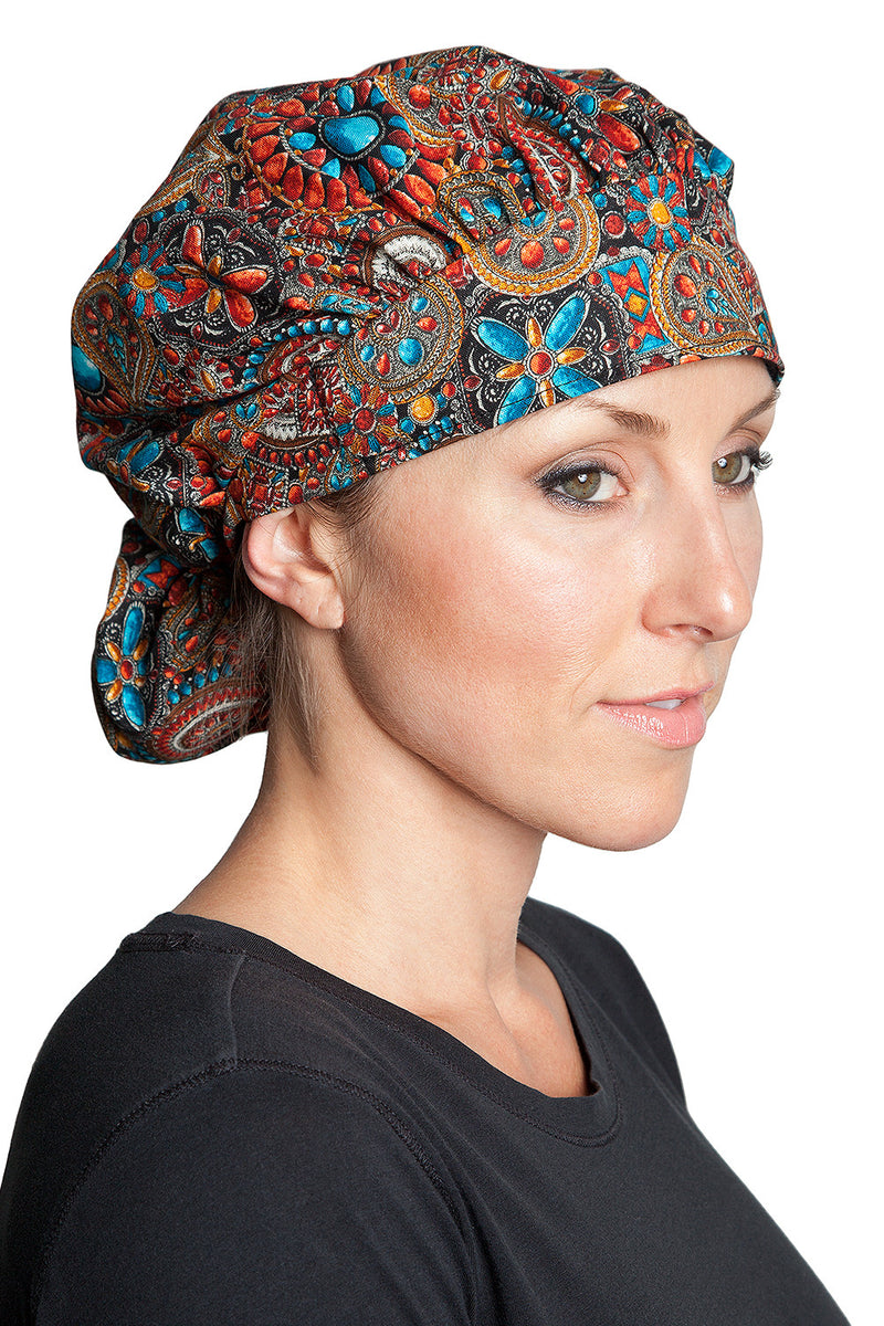 Fiumara Apparel Bouffant Cap Indian Jewel Coral Front Tied