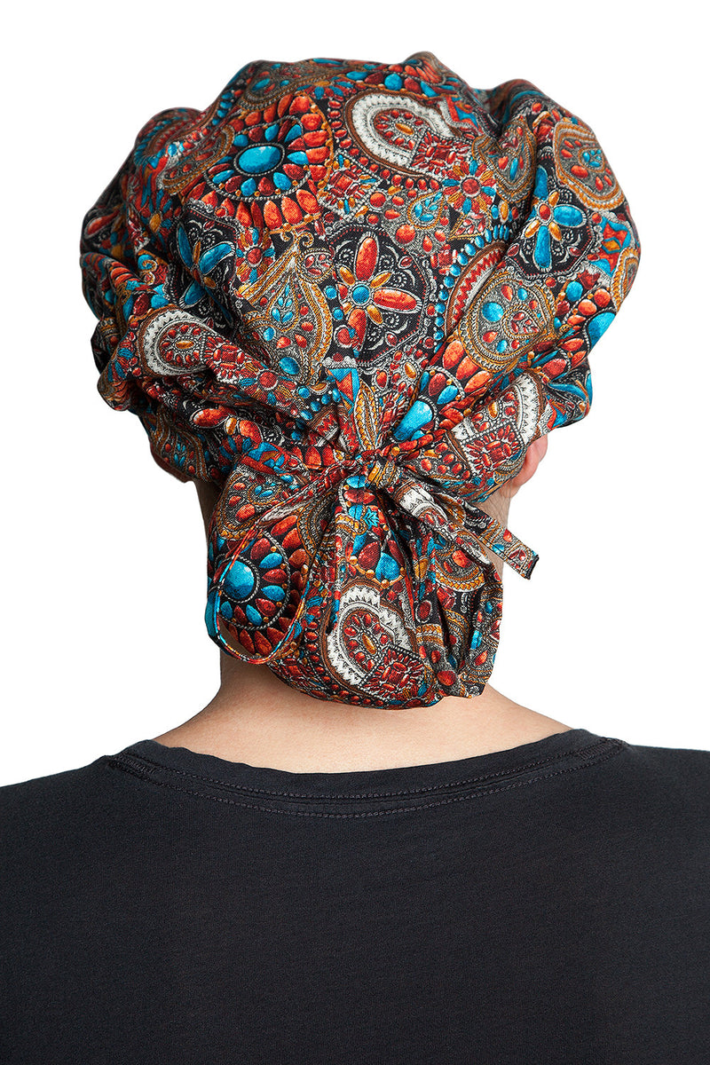 Fiumara Apparel Bouffant Cap Indian Jewel Coral Back Tied