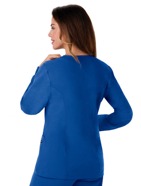 "Jockey Classic Ladies 28"" Round Neckline Jacket Royal Blue Back"