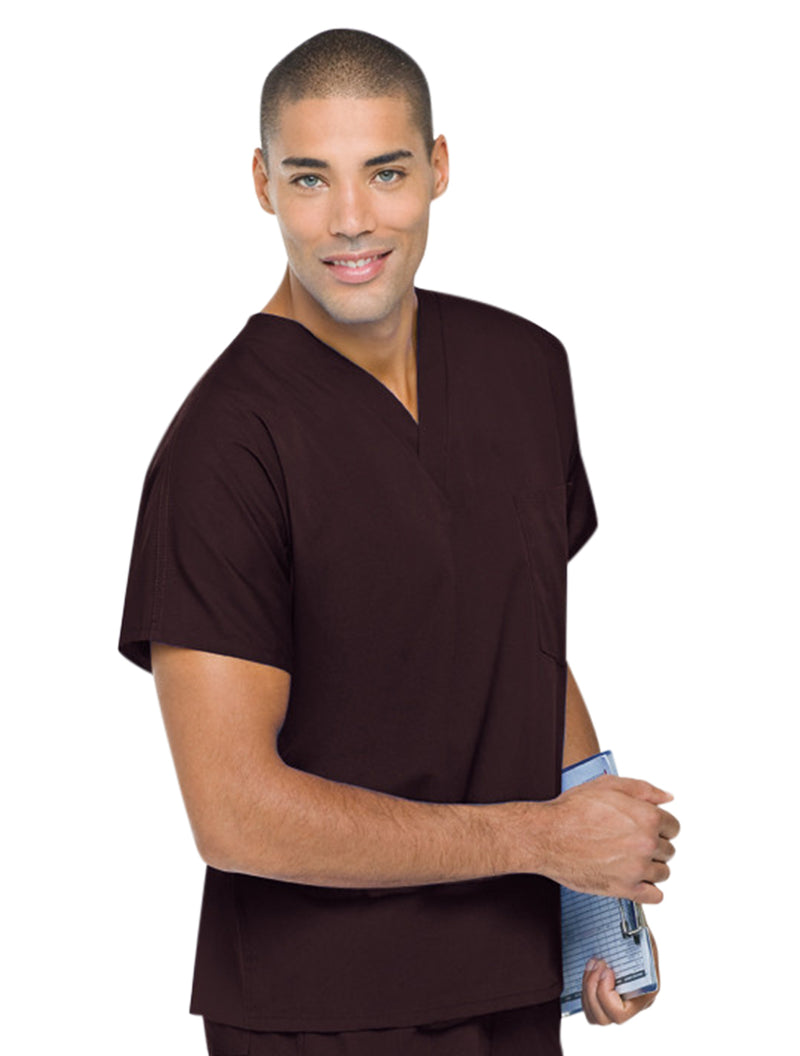 Landau Unisex Scrub Top Brown