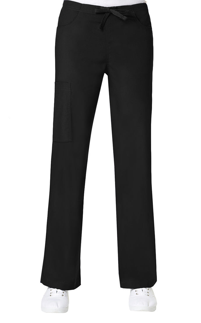 Maevn Women's Core Straight Leg Cargo Back Elastic Drawstring Pant Black