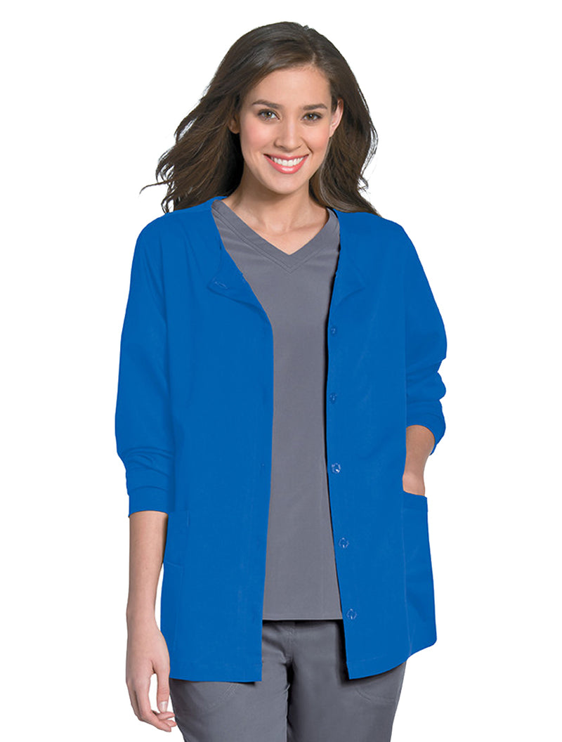 Urbane Women's Button Front Jacket Royal Blue