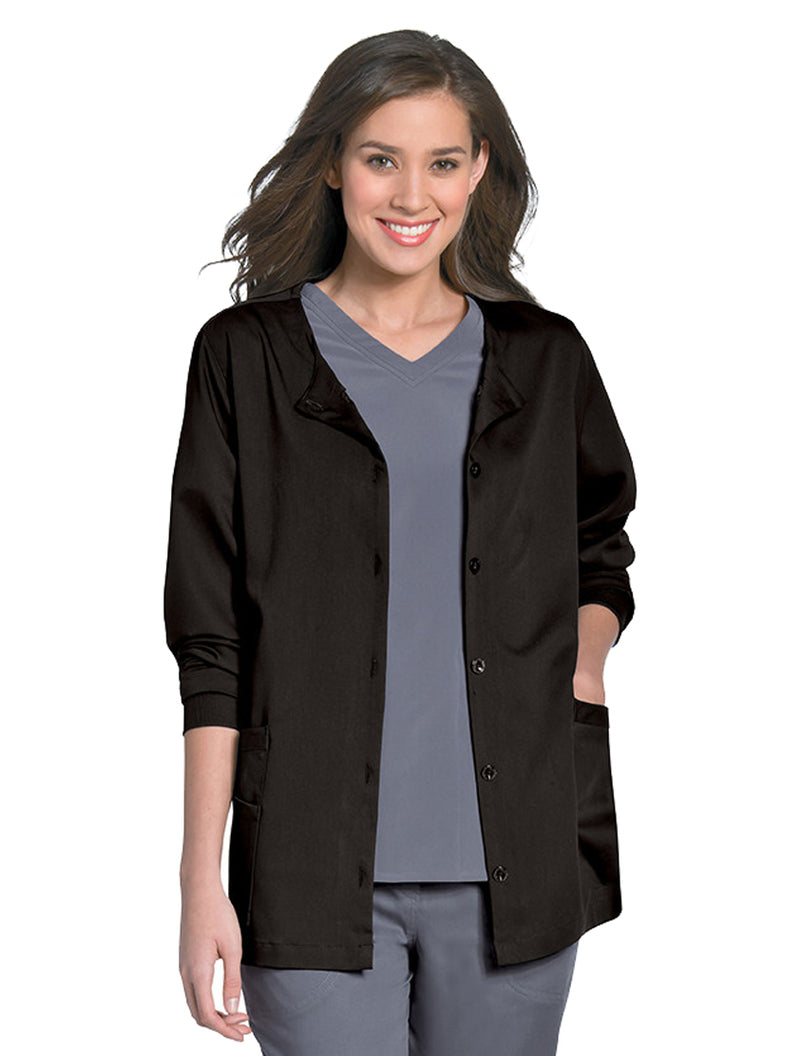 Urbane Women's Button Front Jacket Black