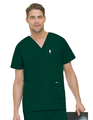Landau Men's 5-Pocket Scrub Top Green