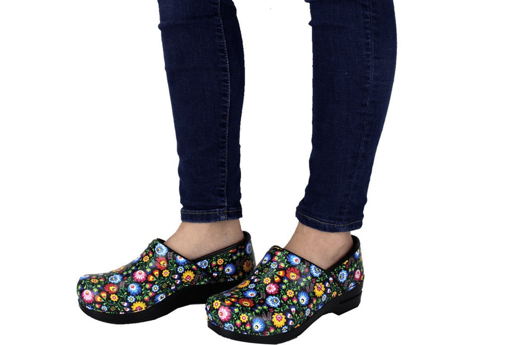 Sanita Derry Women's Flower Garden Print Medical Clog - life style view