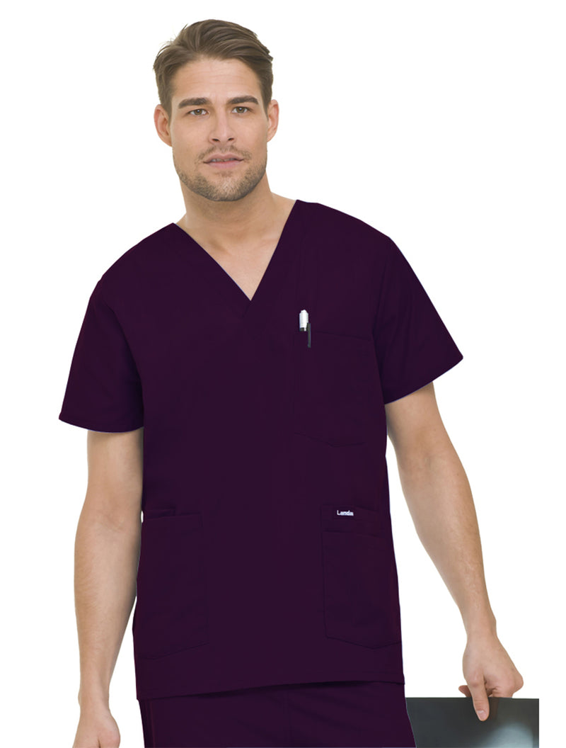 Landau Men's 5-Pocket Scrub Top Wine
